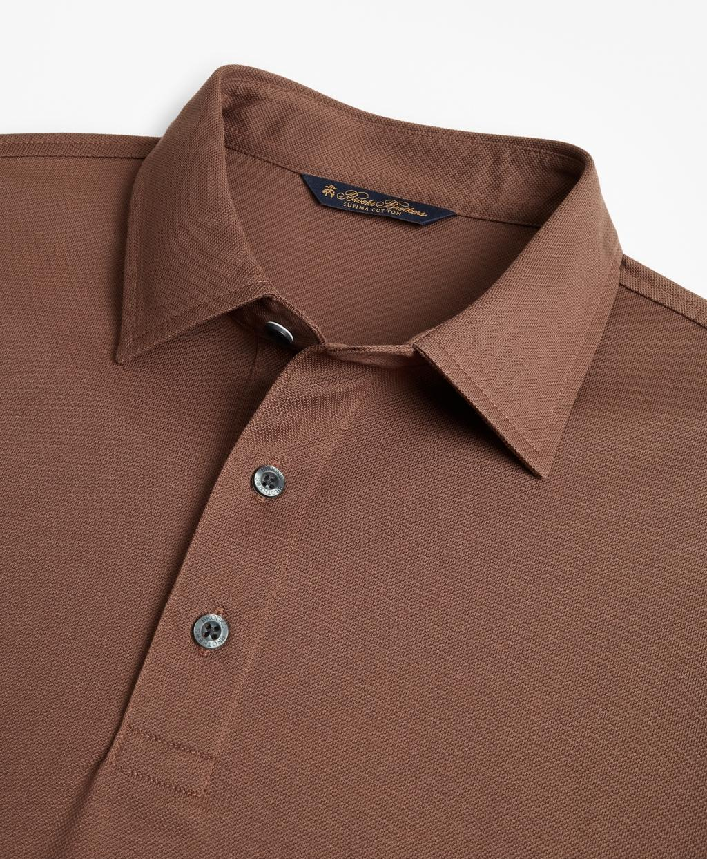 76e0f4cc Lyst - Brooks Brothers Supima Cotton Long-sleeve Polo Shirt in Brown for Men