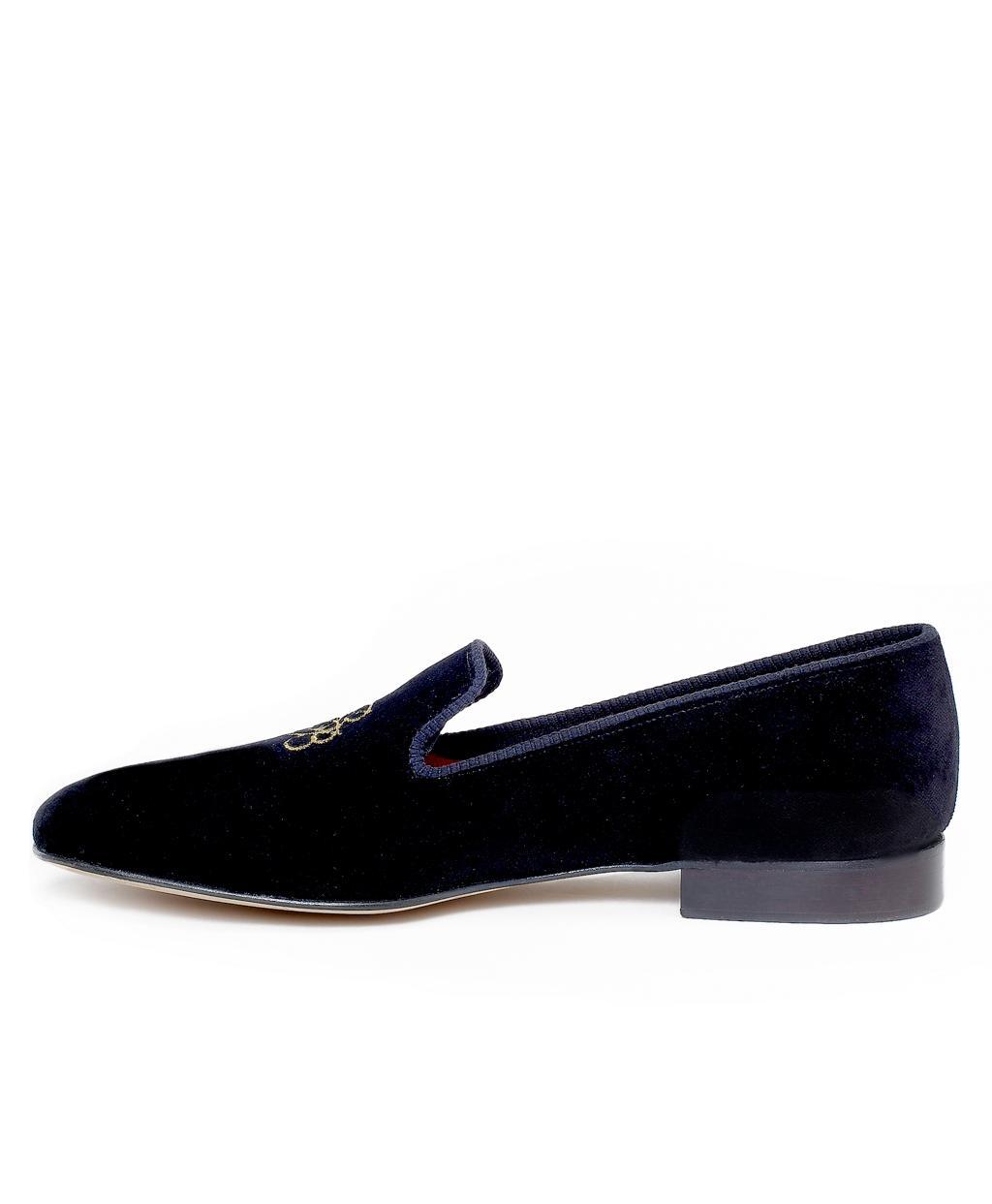 8e7a32bc7fbd0 Lyst - Brooks Brothers Velvet Logo Slippers in Black for Men