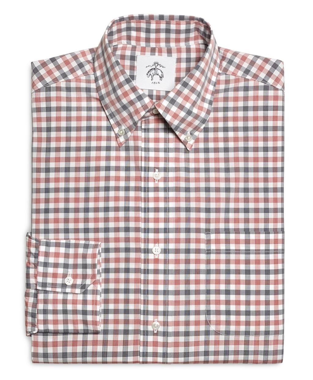 Lyst brooks brothers red navy and white check button for Brooks brothers custom shirt