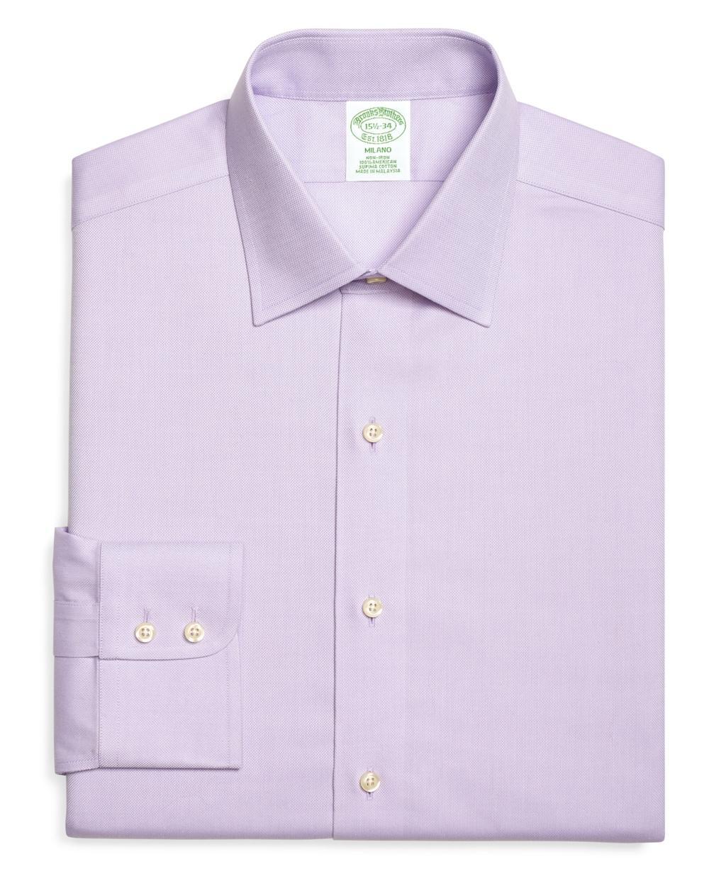 Brooks brothers non iron milano fit royal oxford dress for Royal purple mens dress shirts