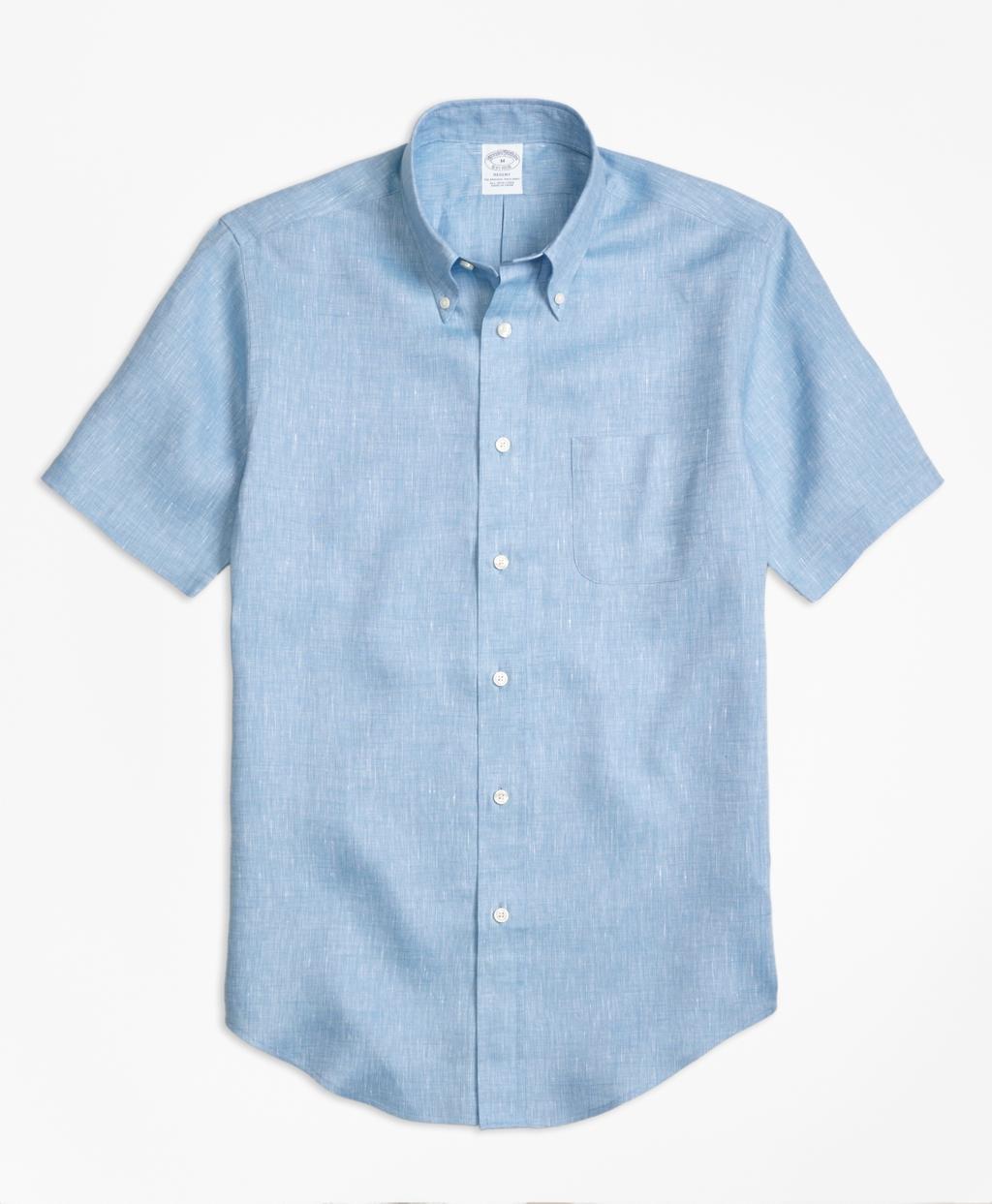 Lyst brooks brothers regent fit irish linen short sleeve for Irish linen dress shirts