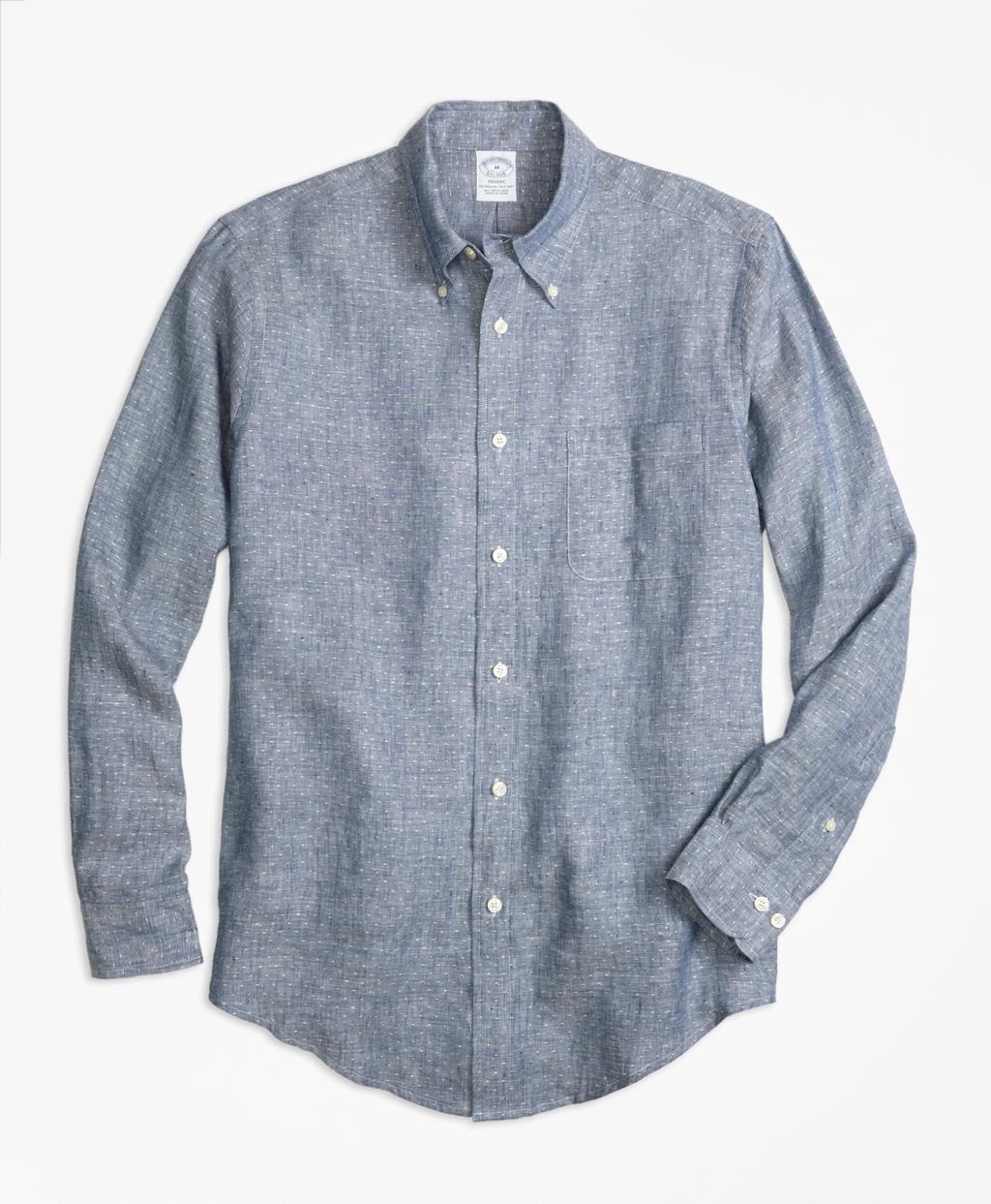 Brooks brothers regent fit dot irish linen sport shirt in for Irish linen dress shirts