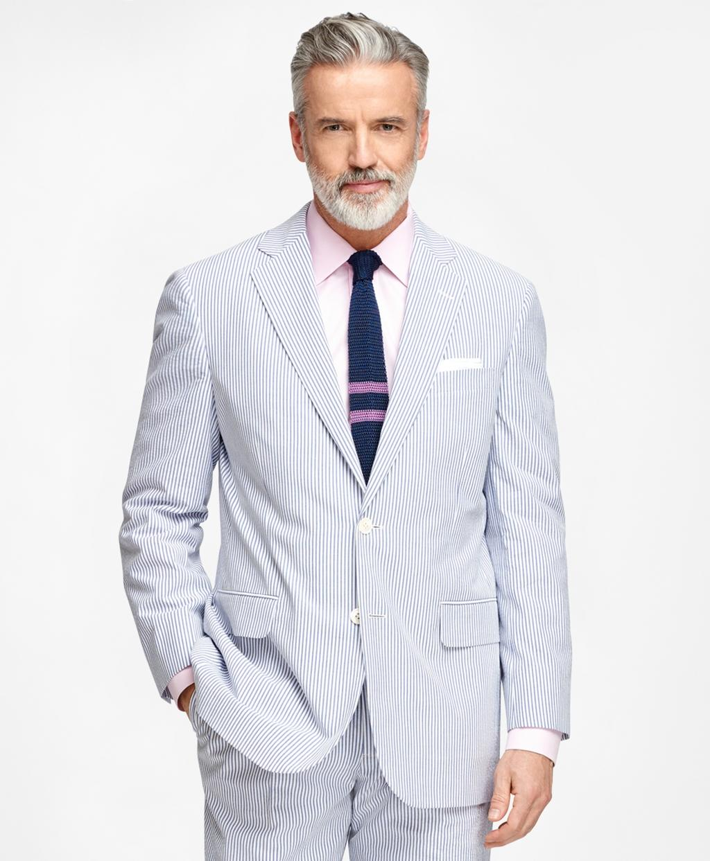 Brooks Brothers Madison Fit Seersucker Suit In Blue For