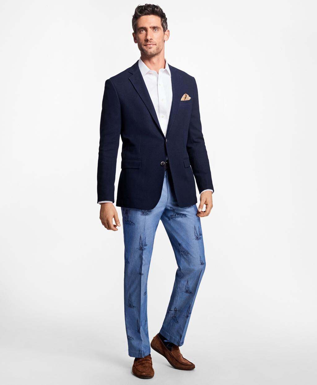 Brooks brothers Clark Fit Chambray Boat Print Pants in ...