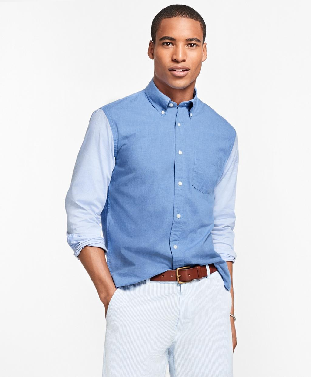 Lyst brooks brothers chambray color block sport shirt in for Brooks brothers sports shirts