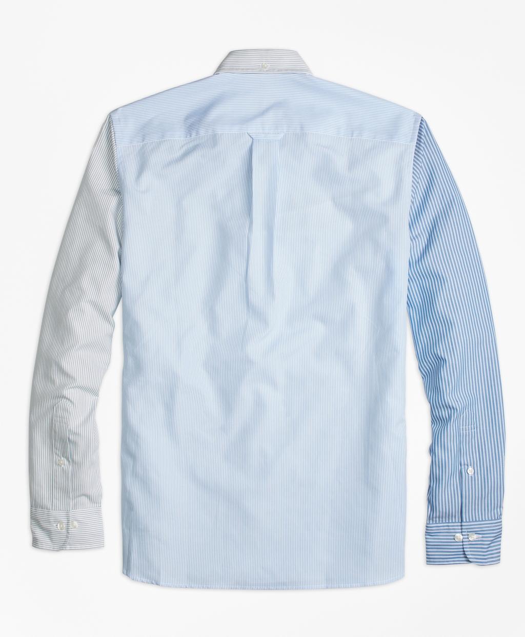 Brooks brothers stripe mixed media sport shirt in blue for for Brooks brothers sports shirts