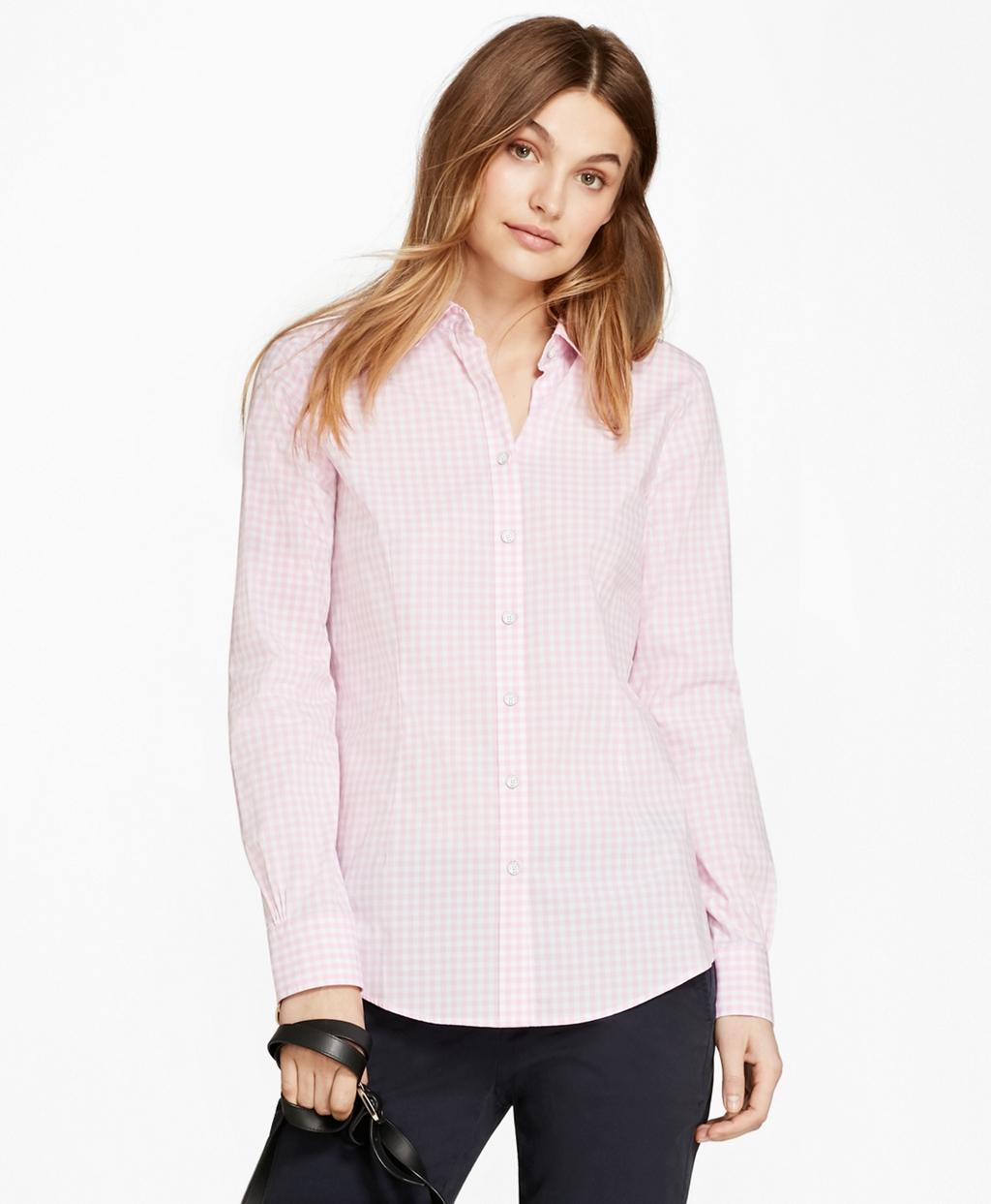 Brooks brothers gingham stretch cotton poplin shirt in for Pink gingham shirt ladies
