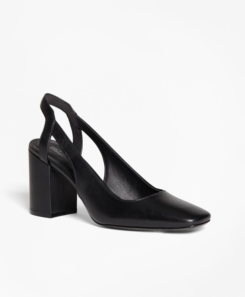 Lyst Brooks Brothers Square Toe Slingback Pumps In Black