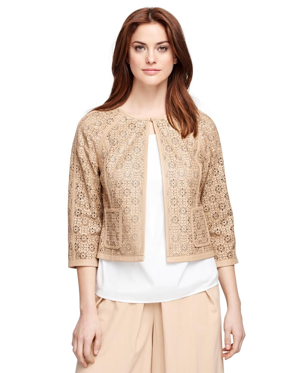 Brooks Brothers Laser Cut Leather Jacket In Natural Lyst