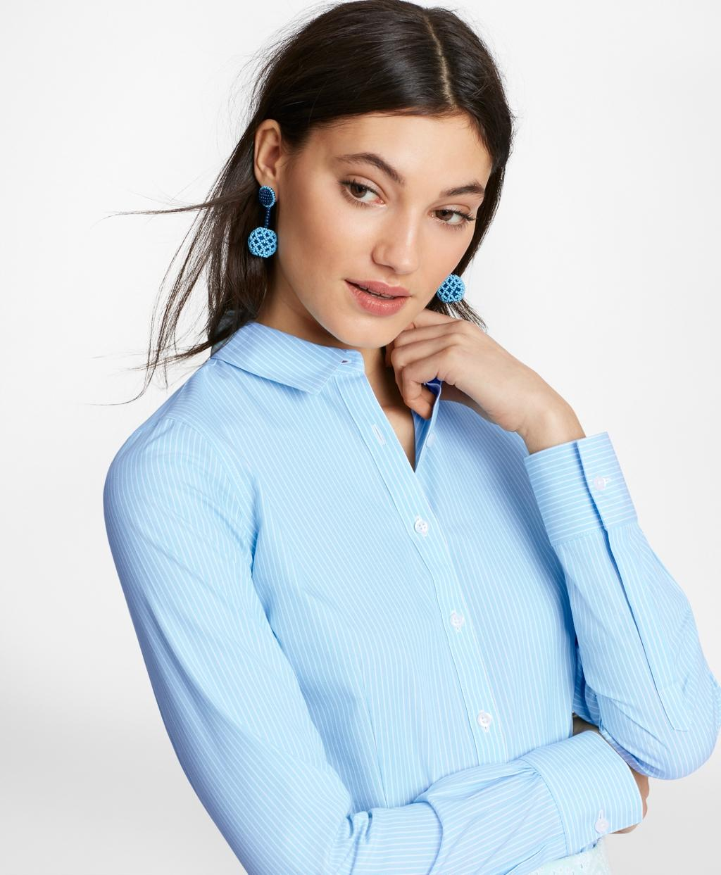264fe1eb02e2a Brooks Brothers. Women s Blue Non-iron Tailored-fit Striped Stretch-cotton  Poplin Shirt