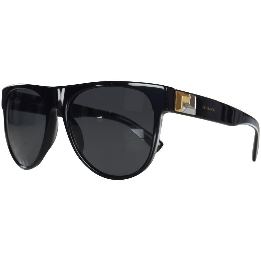 b5876ac582 Lyst - Versace Accessories Black gold Detail Wayfarer Sunglasses in ...