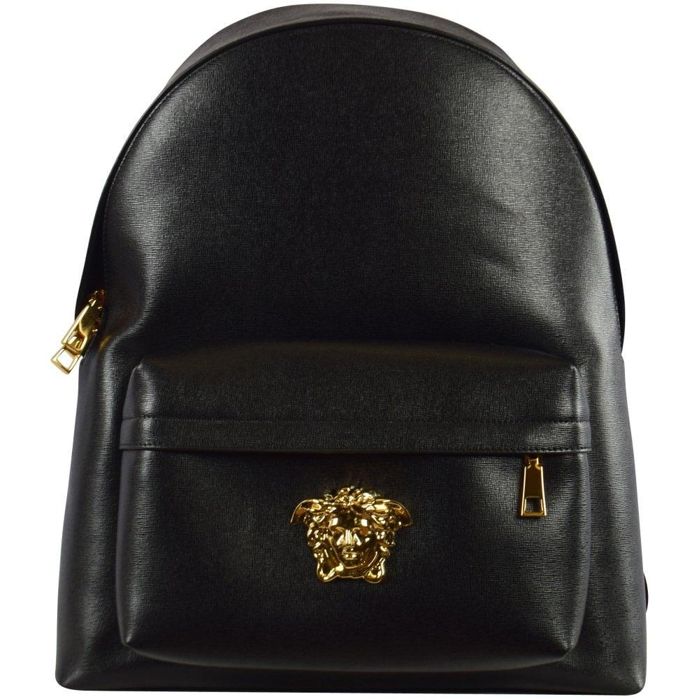 176d4c258c8 Versace Saffiano Leather Palazzo Backpack in Black for Men - Lyst