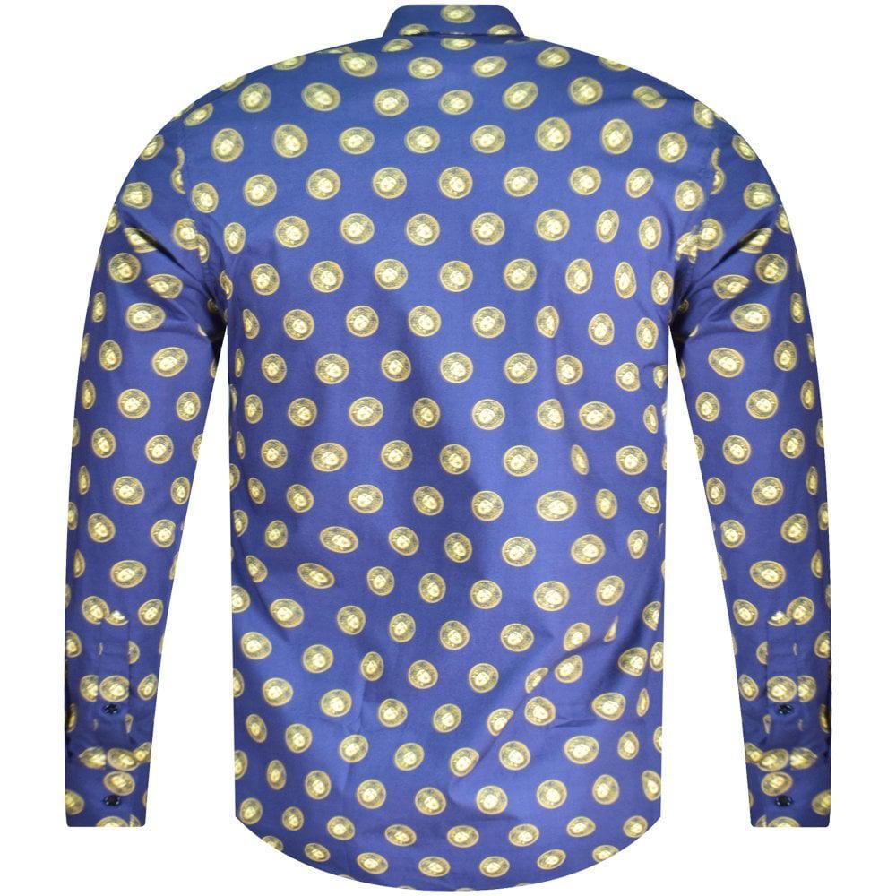 6fb7eae4e Versace - Blue Multi Medusa Print Shirt for Men - Lyst. View fullscreen