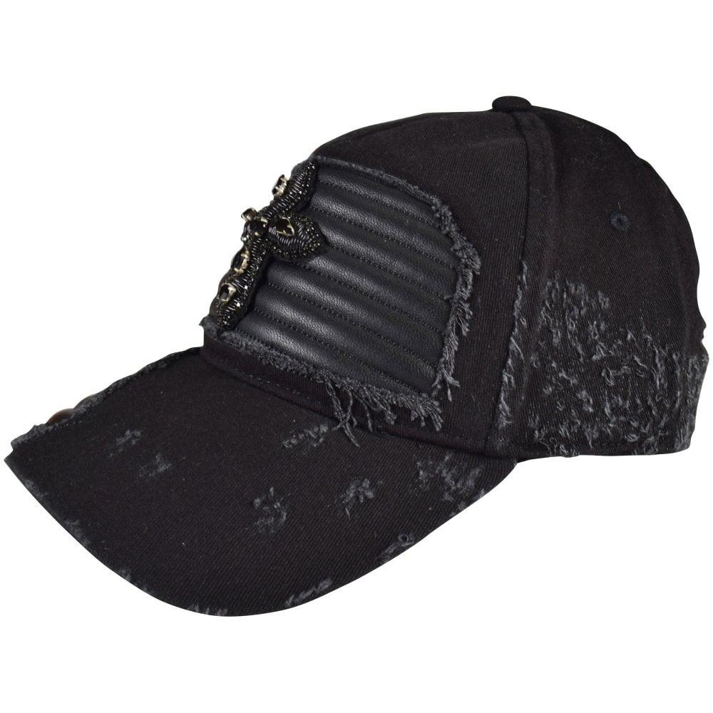 7b3ace79fa4 RH45 Black Distressed Leather Patch Baseball Cap in Black for Men - Lyst