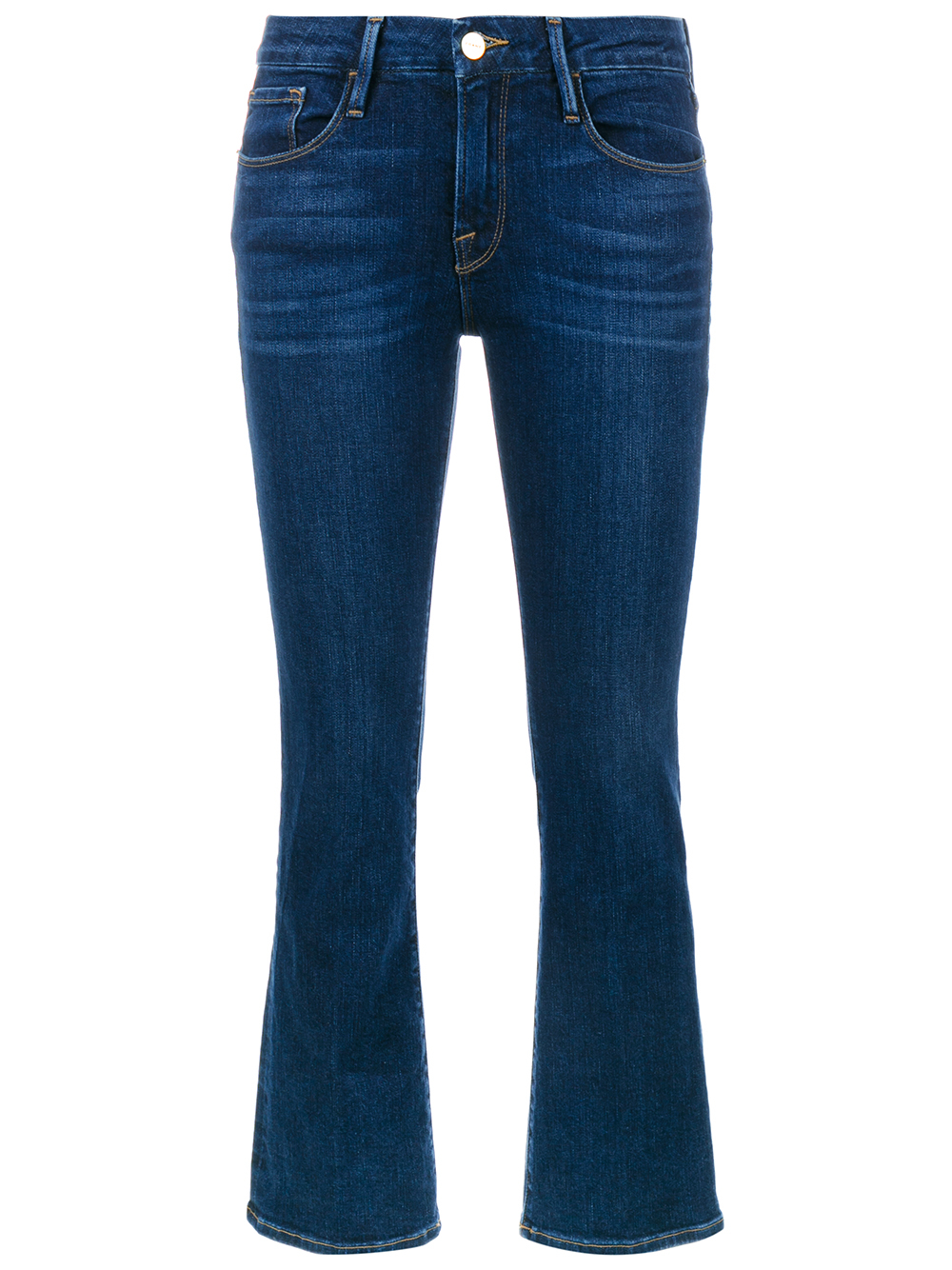 frame cropped kick flare jeans in blue denim lyst. Black Bedroom Furniture Sets. Home Design Ideas