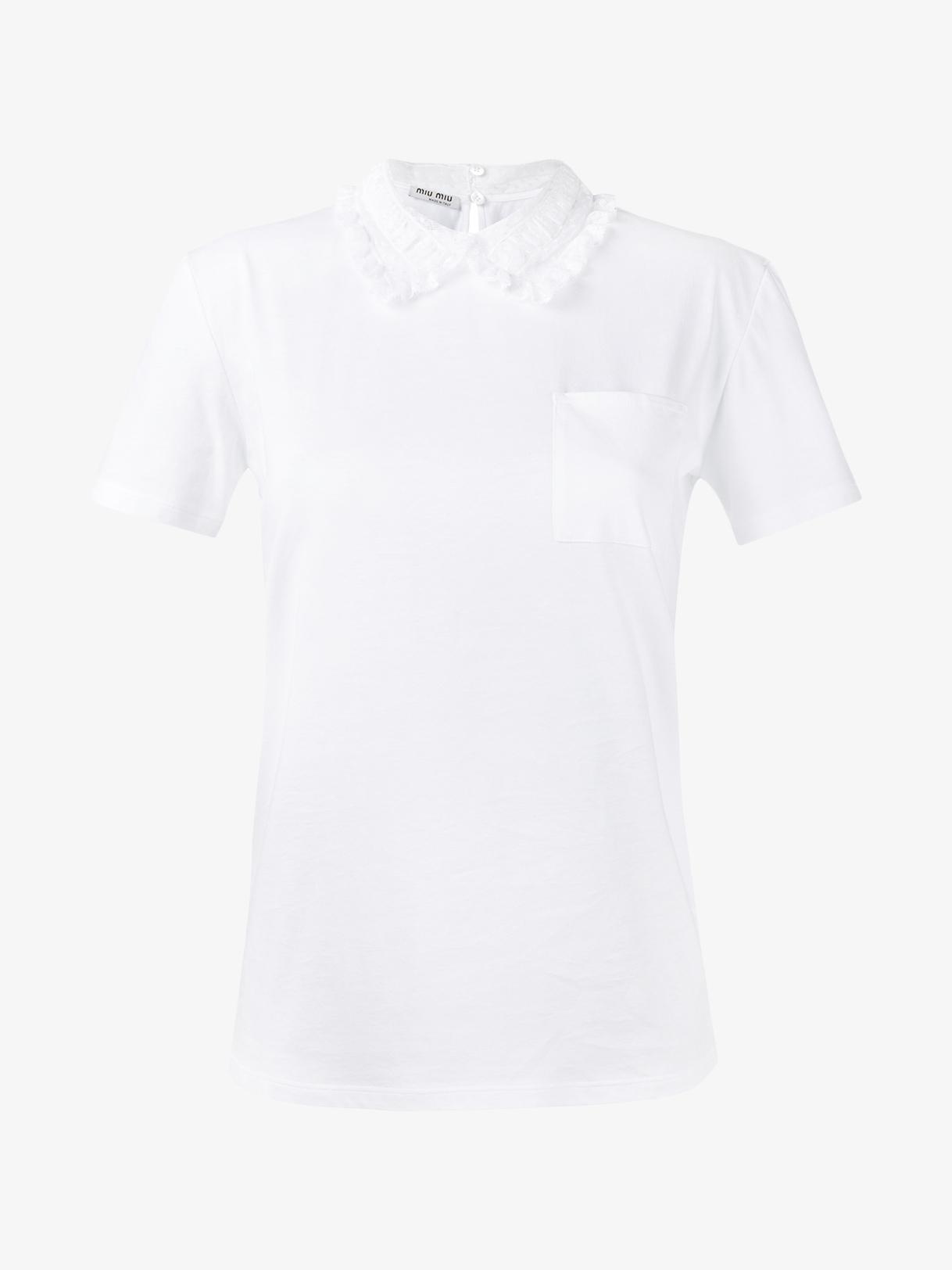 Lyst miu miu t shirt with ruffle collar in black for Miu miu t shirt