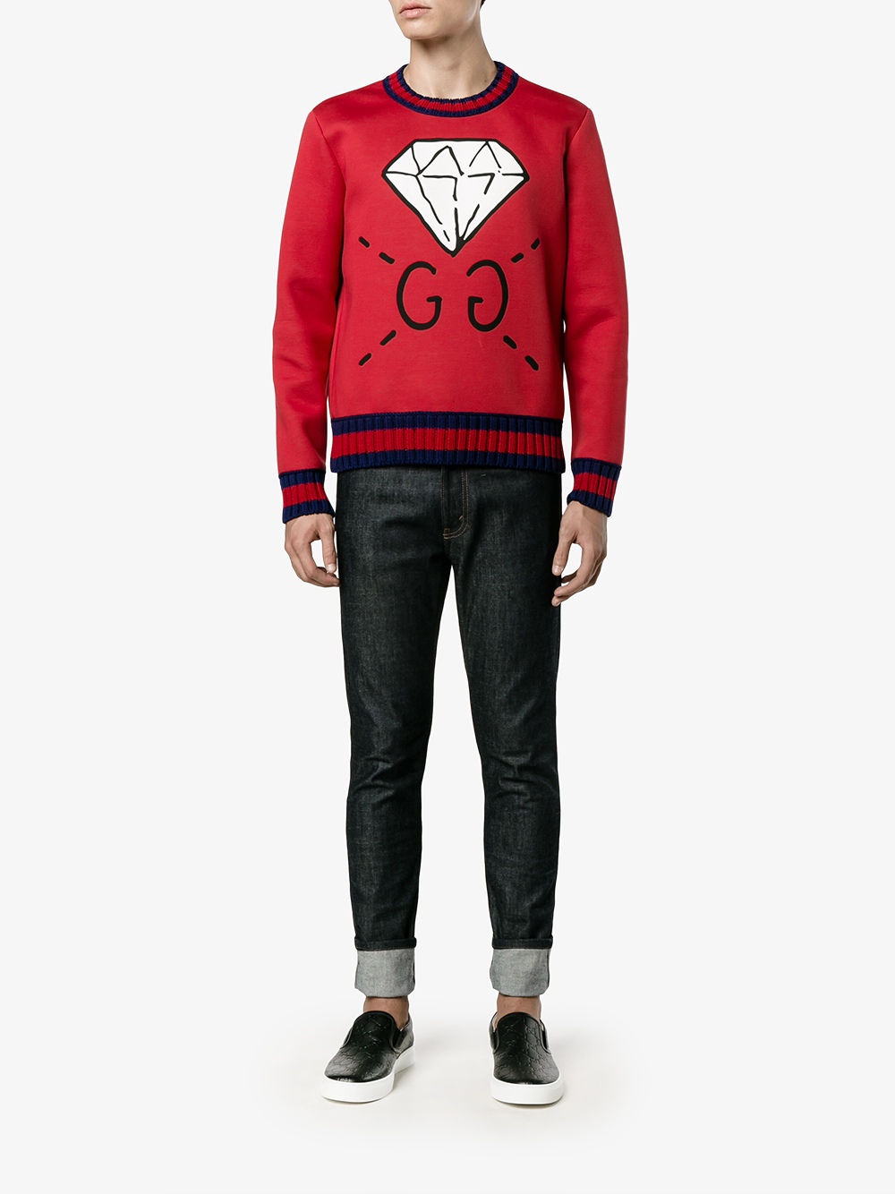 4d7ff0def15 Gucci Ghost Diamond Print Sweatshirt in Blue for Men - Lyst