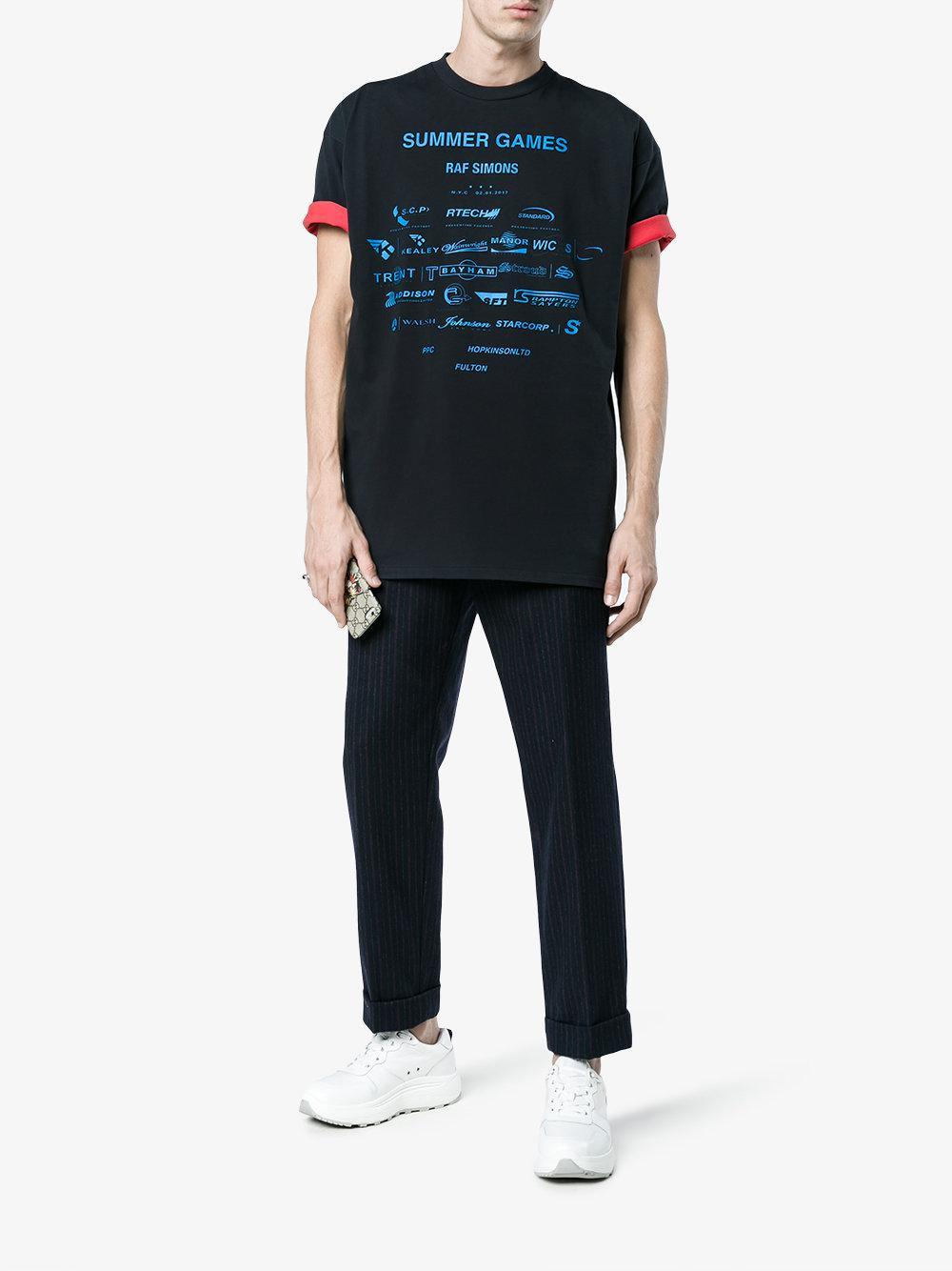 95652980611 Lyst - Raf Simons Navy Sponsor Print T Shirt in Blue for Men