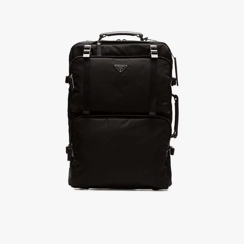 18940768f0de Prada Black Nylon Trolley Suitcase in Black for Men - Lyst
