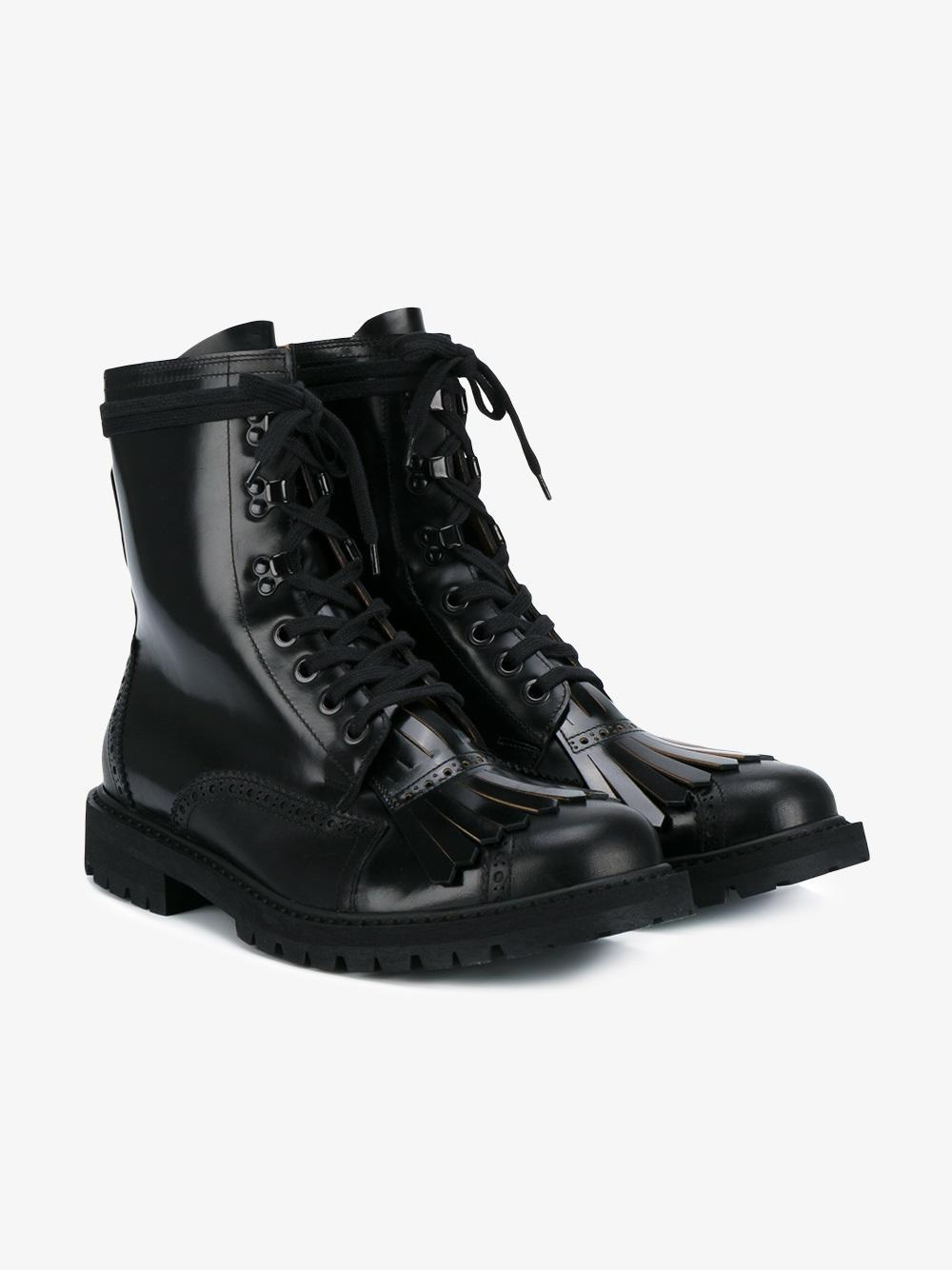 bf99cf65ff38 Lyst - Dries Van Noten - Fringed Combat Boots - Men - Leather rubber ...