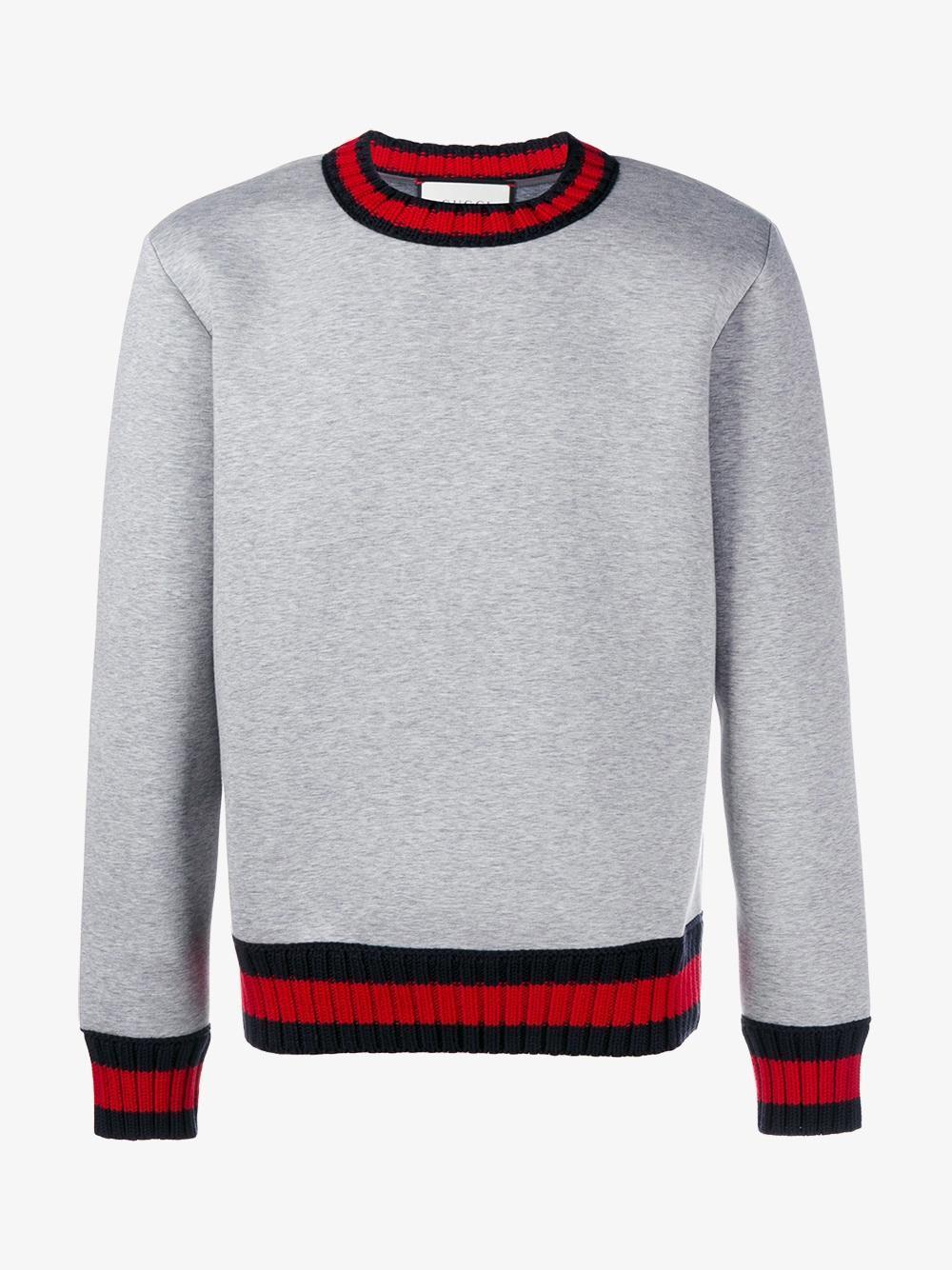 6ec52314ca07f1 Gucci Web Trim Sweatshirt in Gray for Men - Lyst