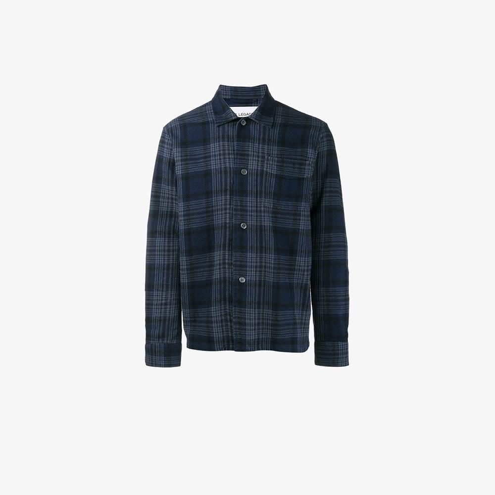 Our legacy tartan check shirt in blue for men lyst for Lands end logo shirts
