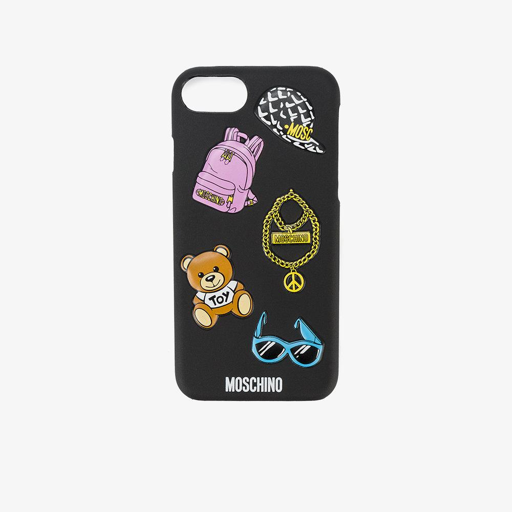 lyst moschino logo print iphone 7 case in black. Black Bedroom Furniture Sets. Home Design Ideas