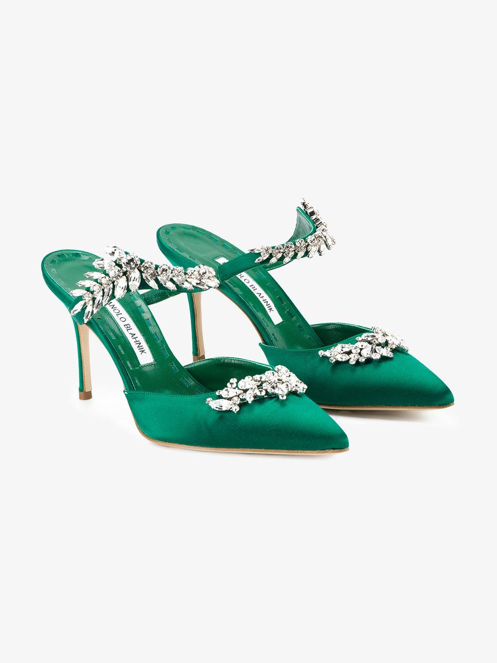 Manolo blahnik lurum pumps in green lyst for Who is manolo blahnik