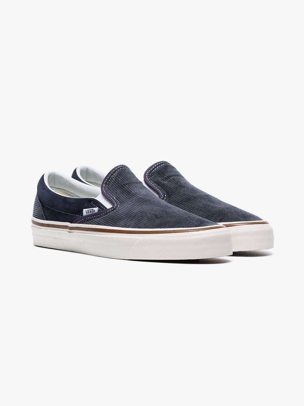 026305313d4188 Lyst - Vans Navy Blue And Grey 98 Dx Corduroy Slip On Sneakers in ...