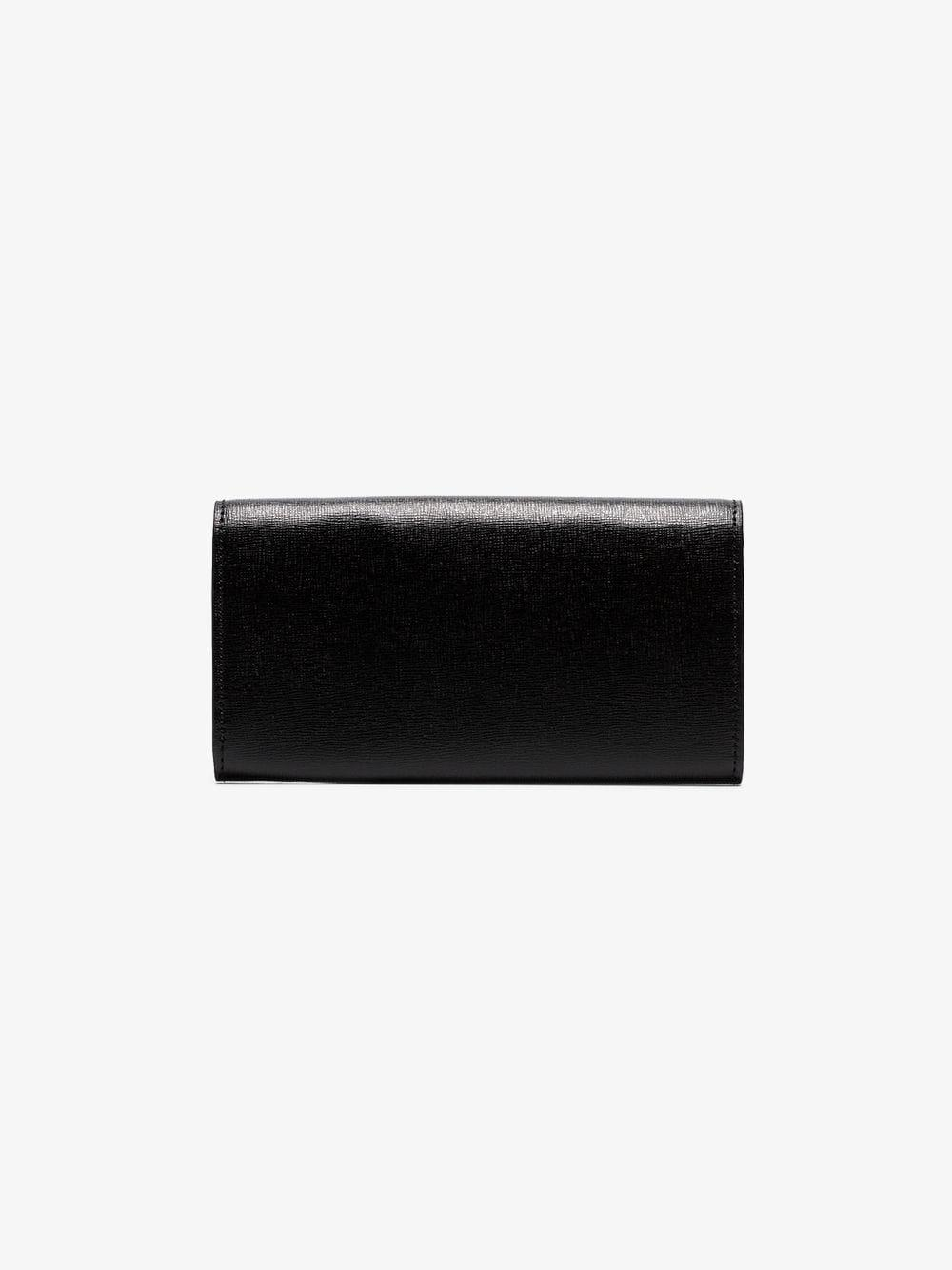 68474df8aaef Lyst - Off-White c o Virgil Abloh Black And Green Arrow Logo Grained  Leather Wallet in Black