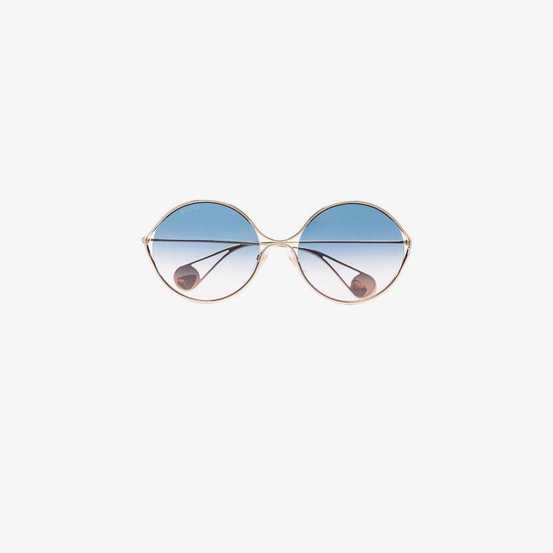 5dd18c57b9 Lyst - Gucci Icy Blue Oversized Round Sunglasses in Blue