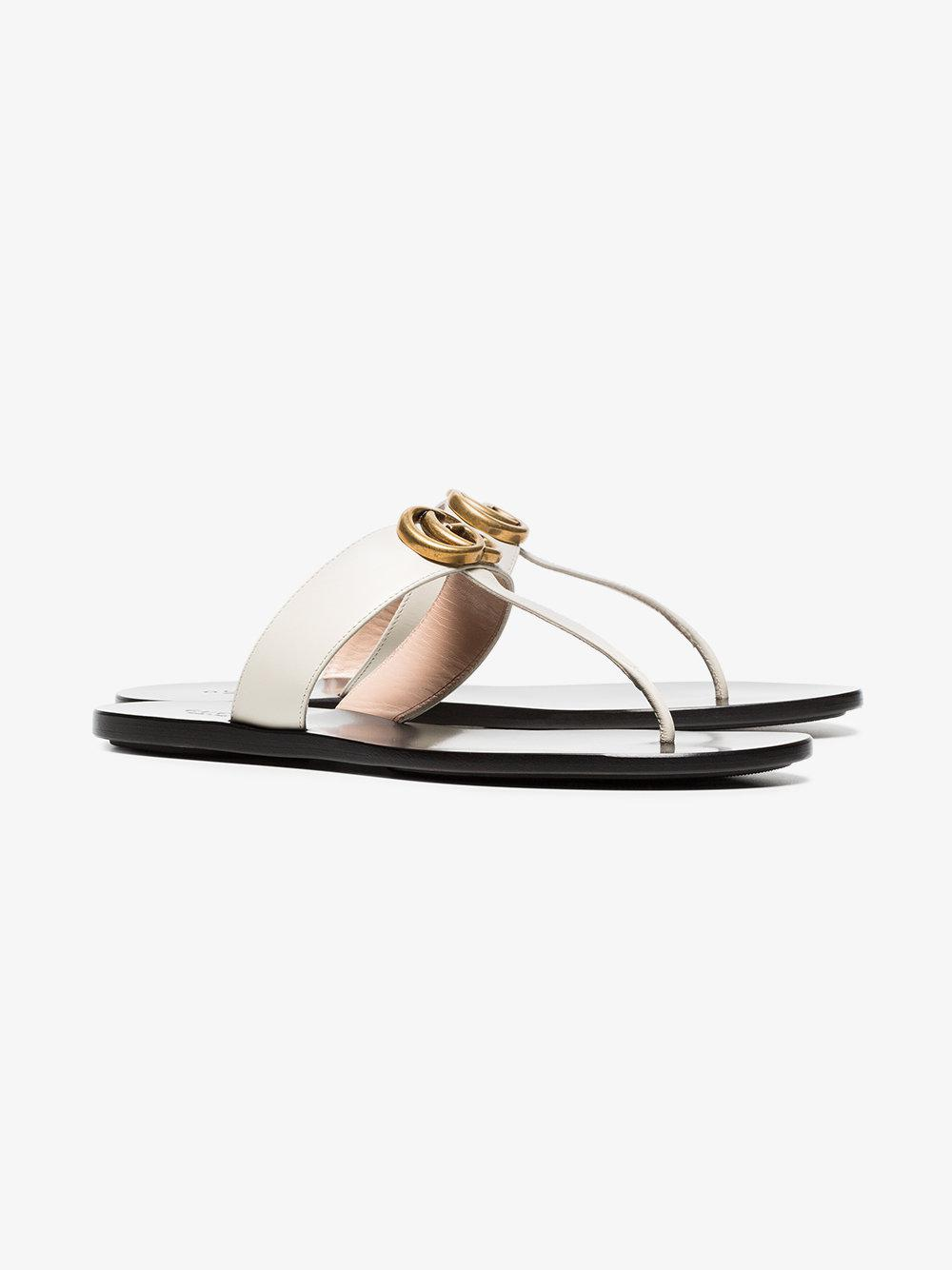 d178567ab8a Gucci Marmont Flat Leather Sandals in White - Lyst