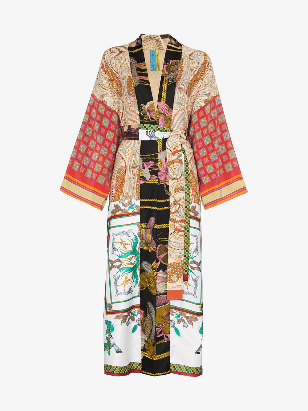 d97bf0e6f8 Lyst - Rianna + Nina Long Multi Floral Square Print Silk Kimono Robe