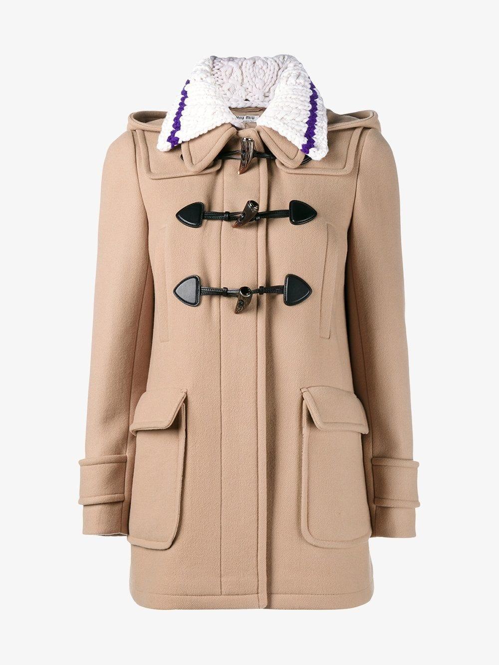 3baff25a3cd3 Lyst - Miu Miu - Short Duffle Coat - Women - Calf Leather/viscose ...