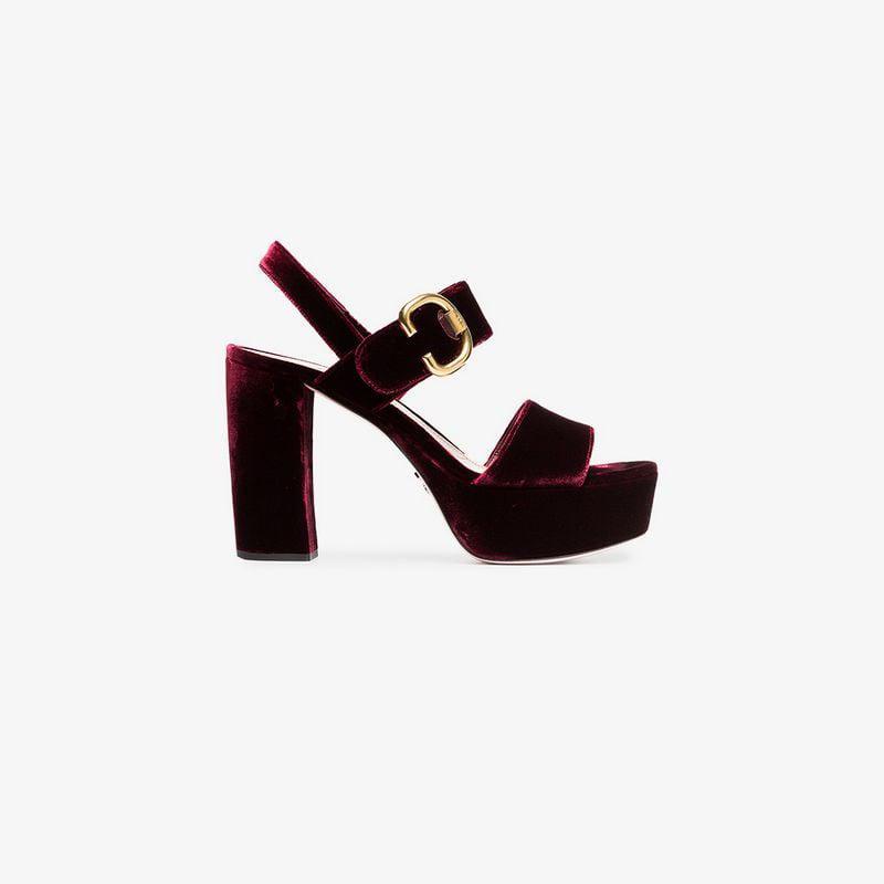 c97351c4d31 Lyst - Prada Velvet Sandals in Red