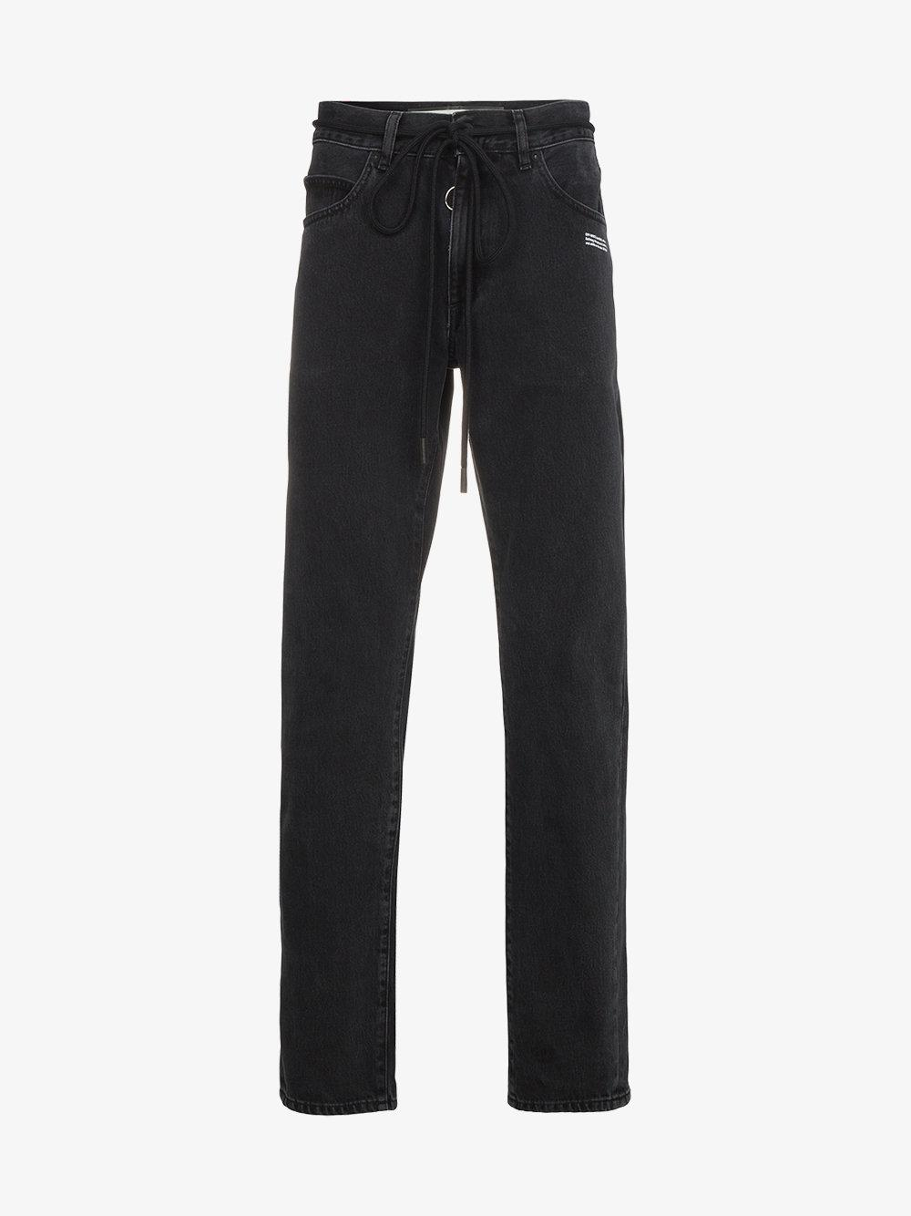 0782bfa1c6c6 Lyst - Off-White c o Virgil Abloh Slim Jeans With Yellow Tape Detail ...