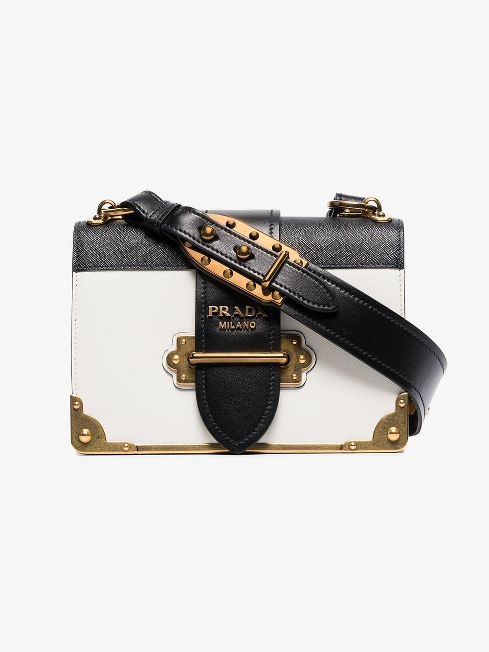 35f3cf5672ba Lyst - Prada Black And White Cahier Leather Bag in White