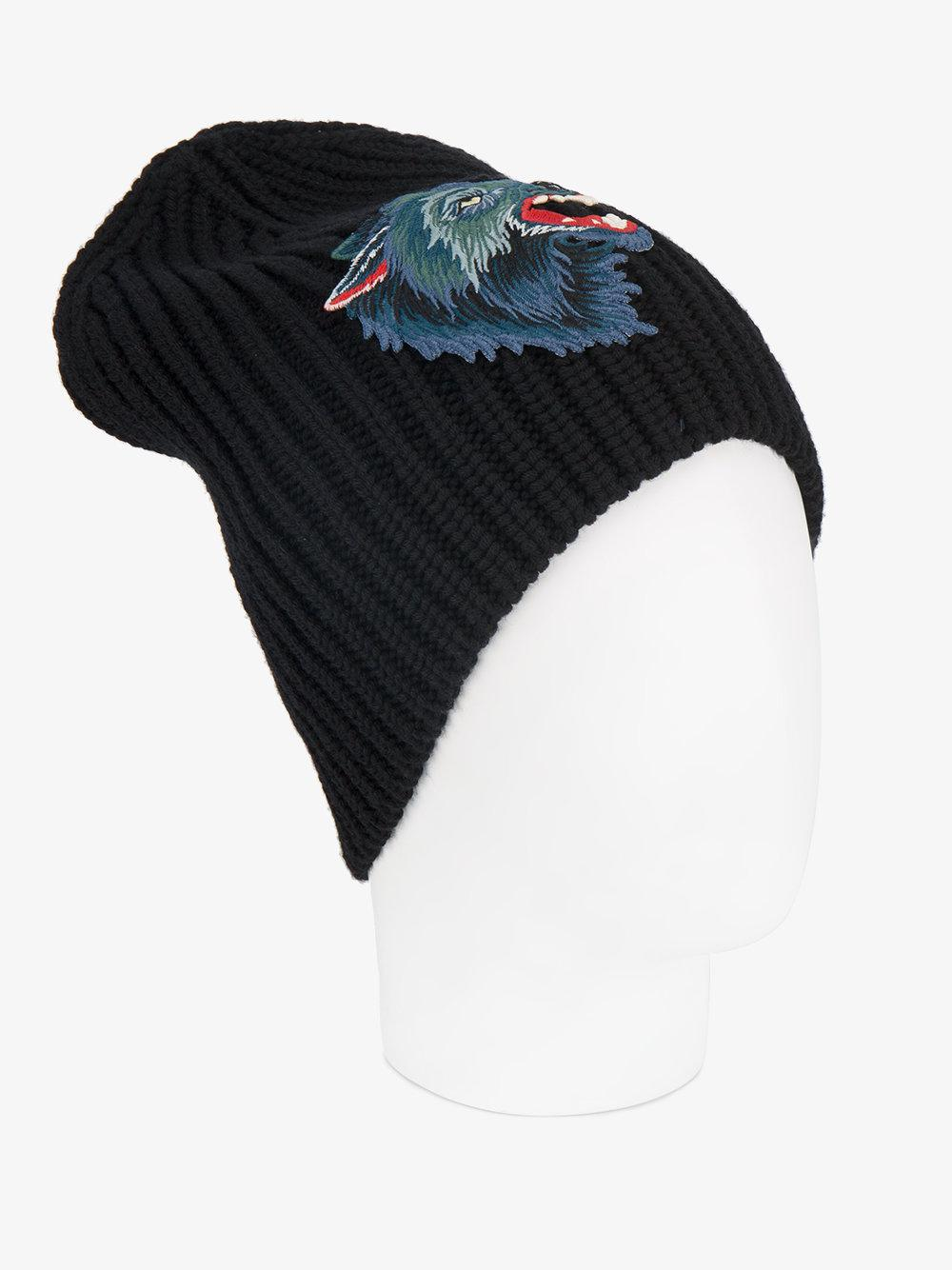 227b22c769b Lyst - Gucci Knitted Wolf Hat in Blue for Men