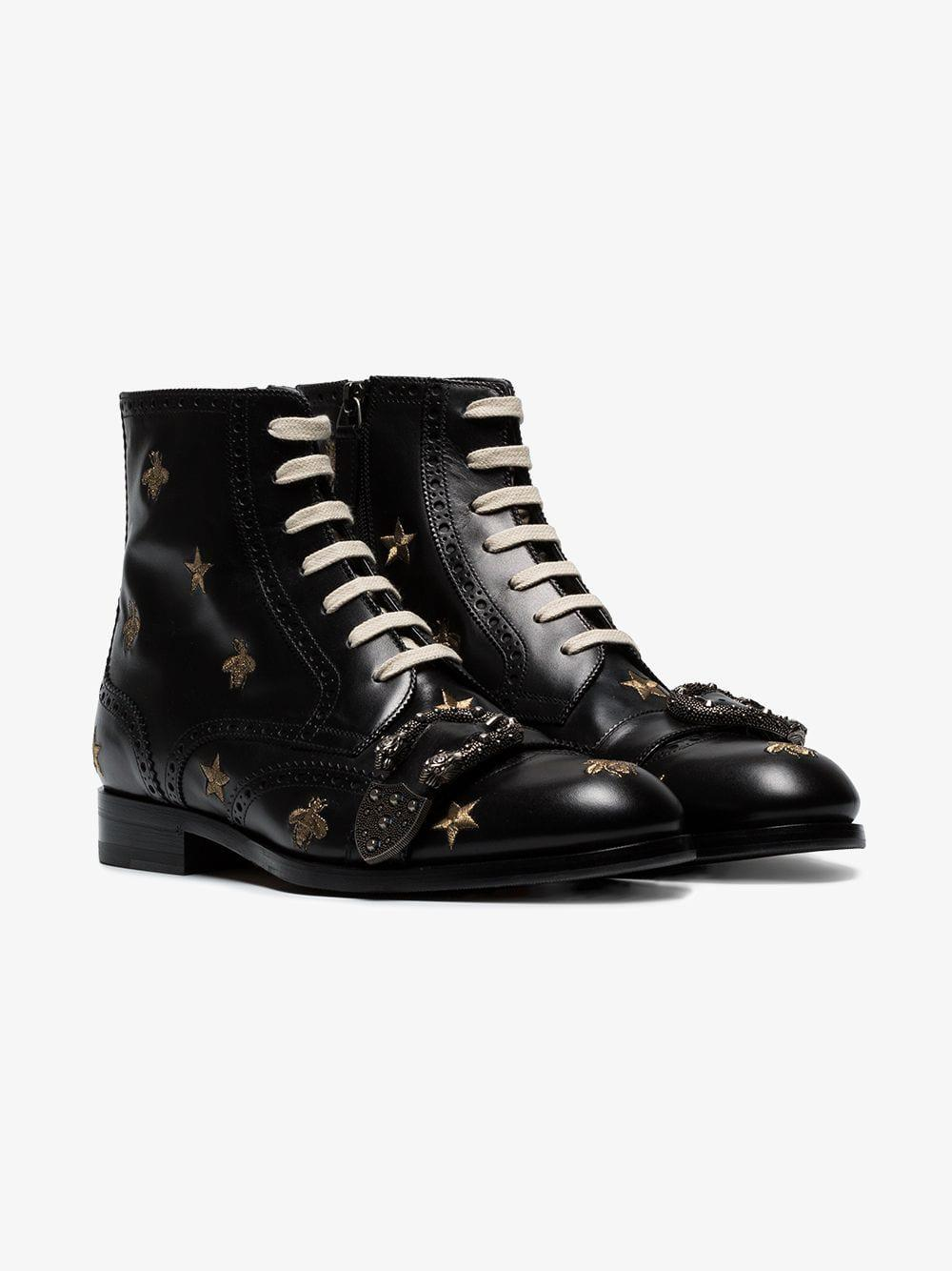 f47842c3a5e Gucci - Black Queercore Embroidered Brogue Boot for Men - Lyst. View  fullscreen