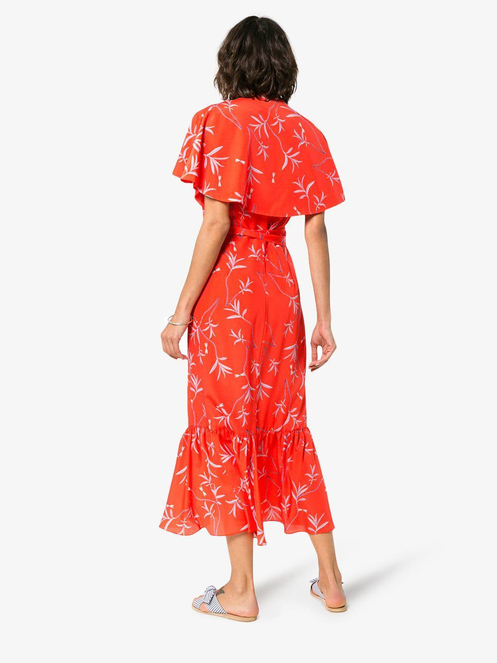 fbf7f7e8d borgo-de-nor-red-Margarita-Crepe-Floral-Print-Cape-Detail-Dress.jpeg