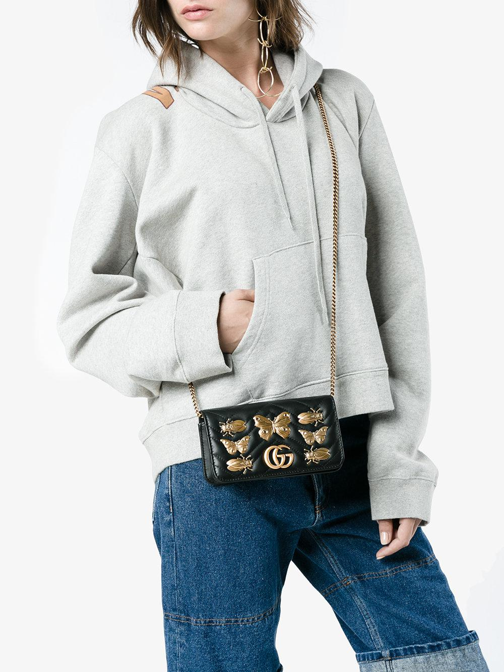 d997ea8264d47d Gucci Gg Marmont Bug Embellished Chain Wallet Bag in Black - Lyst