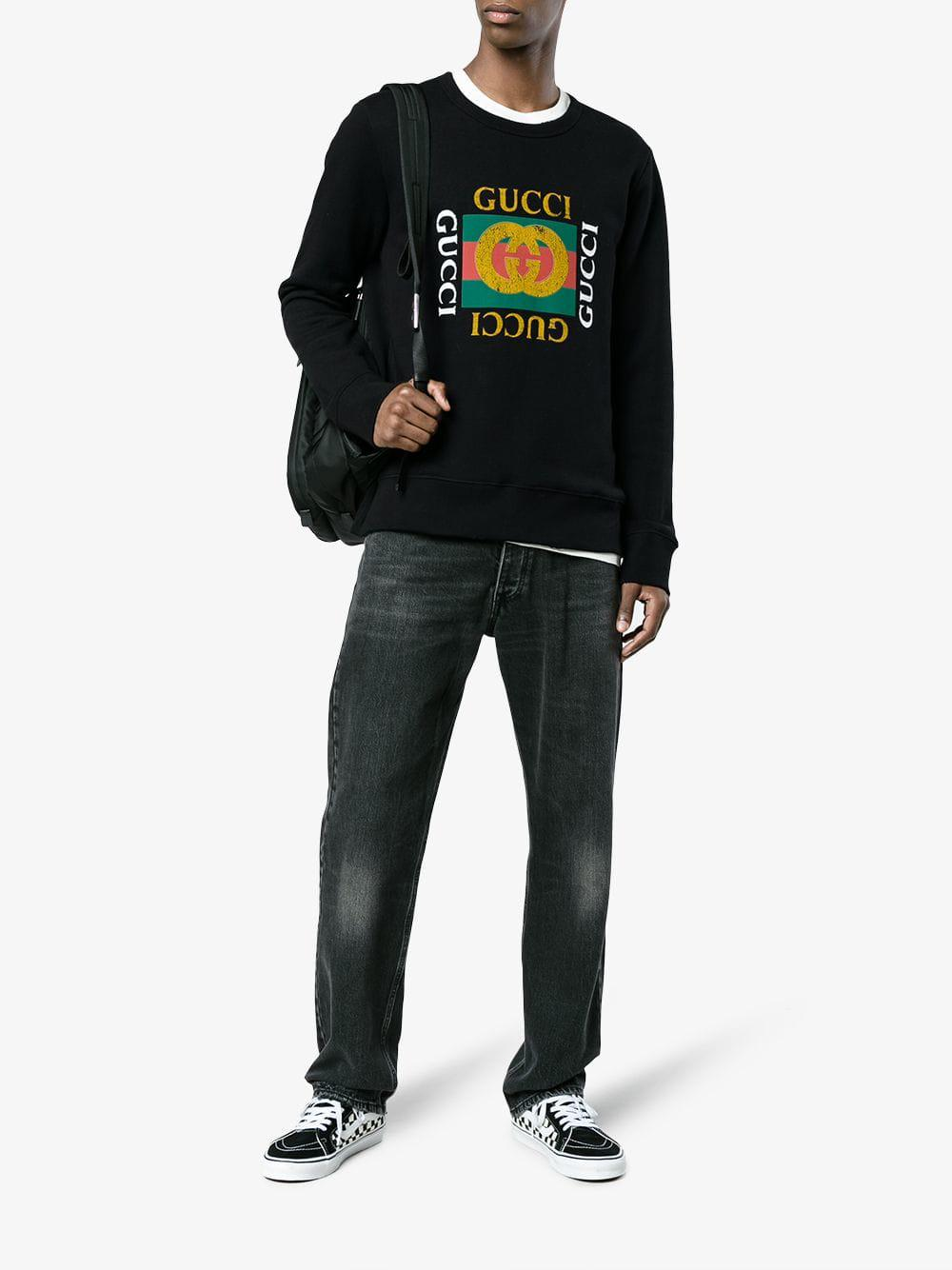 df4952ac353 Lyst - Gucci Cotton Sweatshirt With Logo in Black for Men - Save 72%