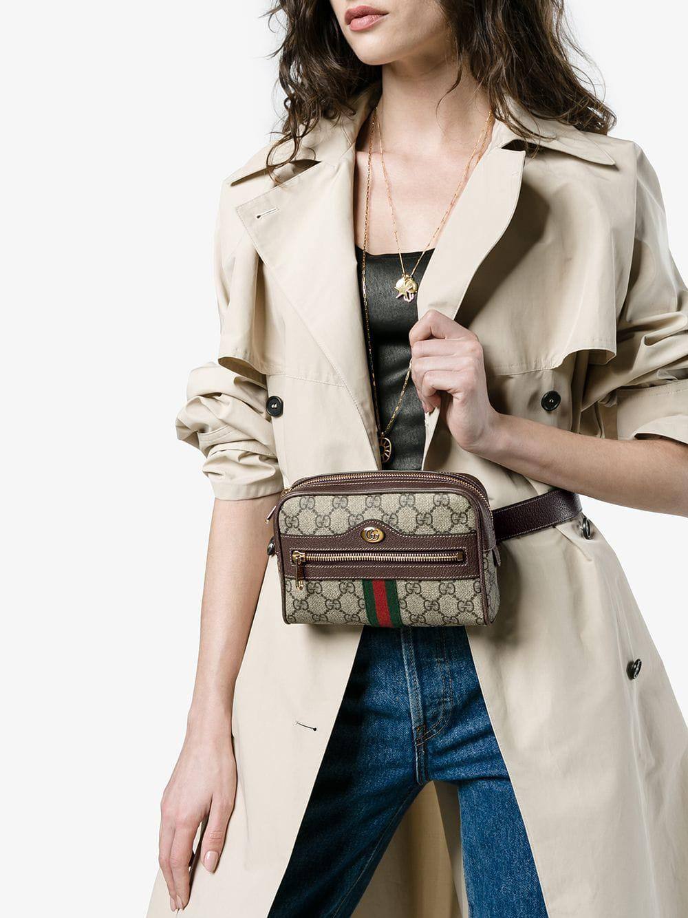 38988fd361f Lyst - Gucci Brown Ophidia GG Supreme Small Belt Bag in Brown - Save 15%
