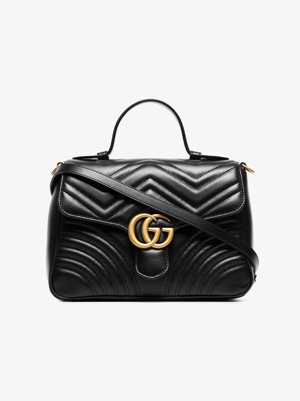 4eac5376038 Gucci Black GG Marmont Small Top Handle Bag in Black - Lyst