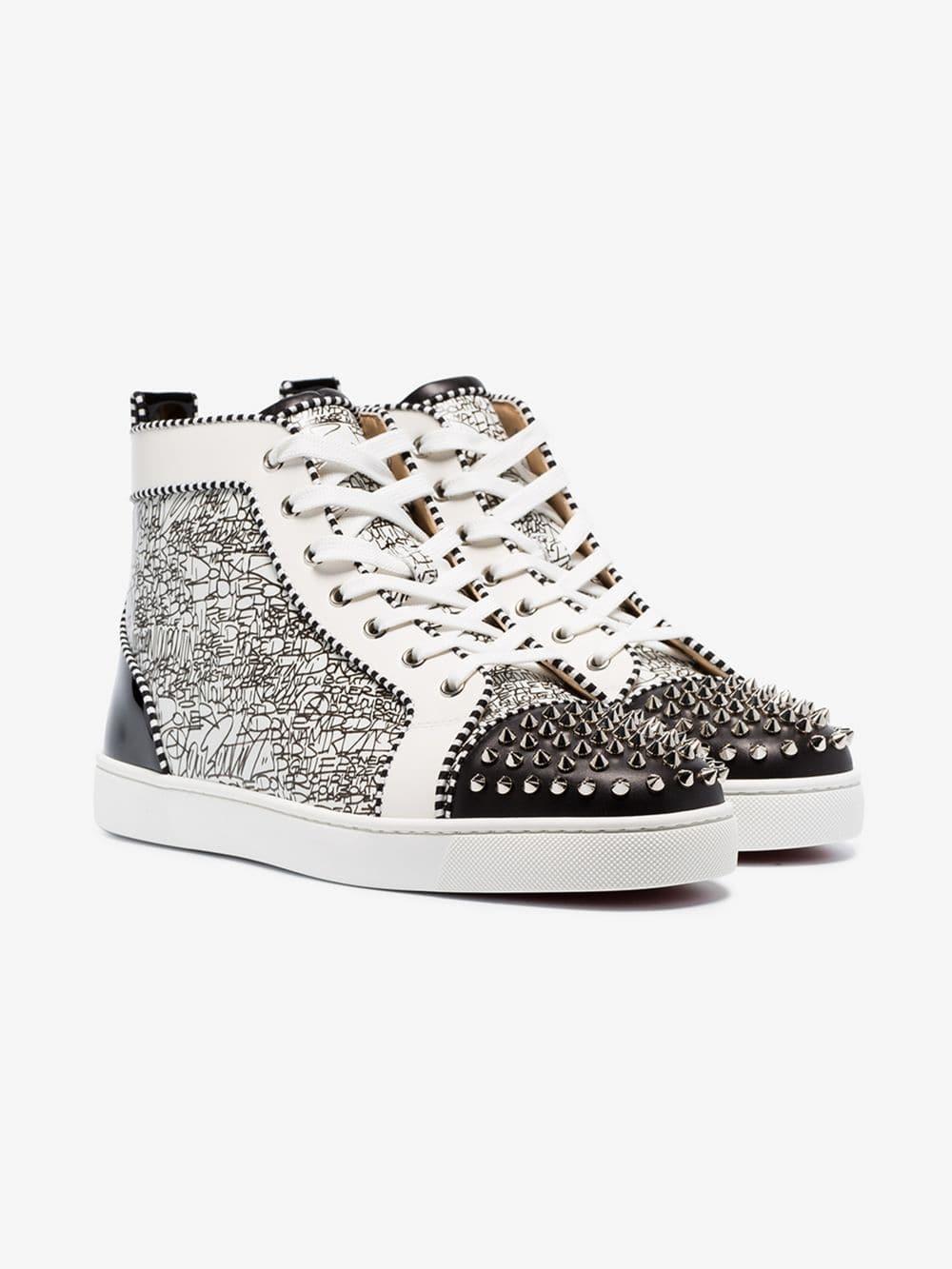 b1b99685de42 Christian Louboutin - White Lou Spikes Orlato Sneakers for Men - Lyst. View  fullscreen