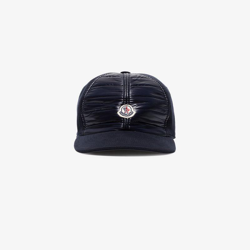 5ea441626 Lyst - Moncler Navy Blue Logo Patch Cotton Cap in Blue for Men