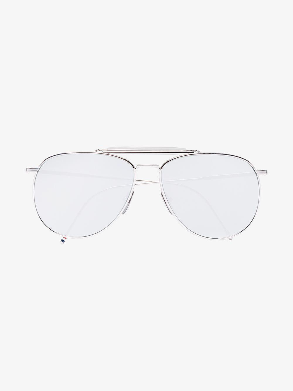 618a30533ed Lyst - Thom Browne Metallic Silver Aviator Mirror Sunglasses in ...