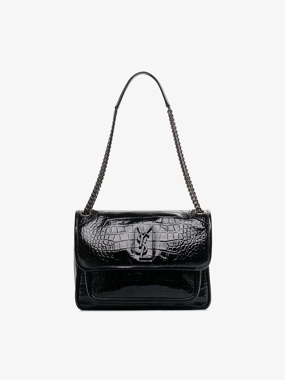 ee56fc0a3cab Saint Laurent - Black Monogram Niki Leather Shoulder Bag - Lyst. View  fullscreen
