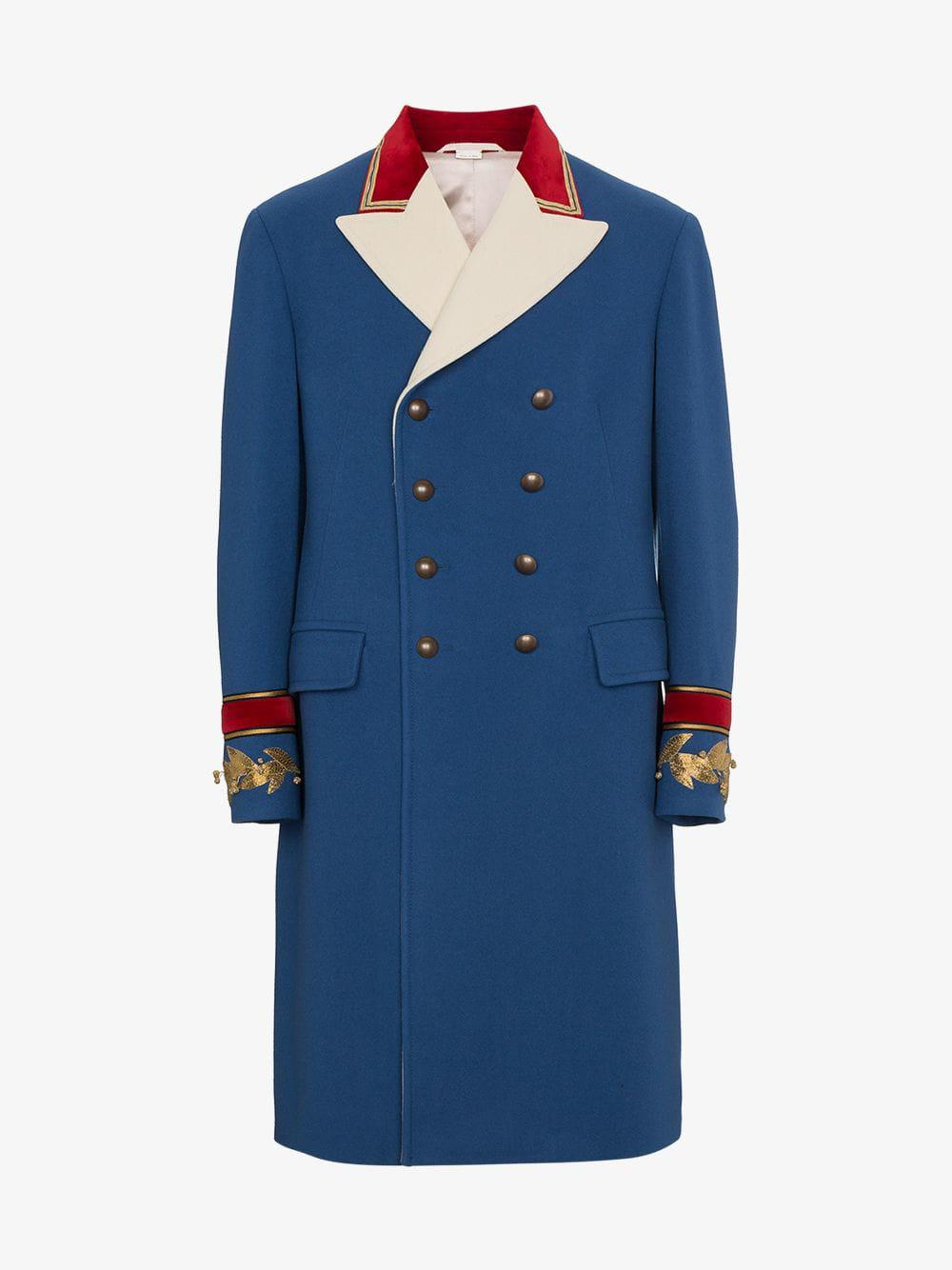 8edbbf11f61c Gucci - Blue Wool Cashmere Coat for Men - Lyst. View fullscreen