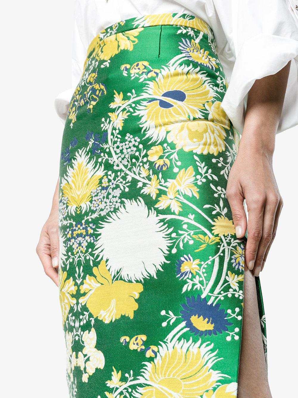 Jacquard Lurex Pencil Skirt - Green Rochas Cheap Sale Exclusive Cheap Price Original Cheap Price Top Quality RTTUT1TPD